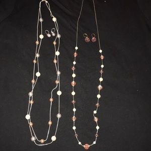Large Bead Necklace Set with Earrings